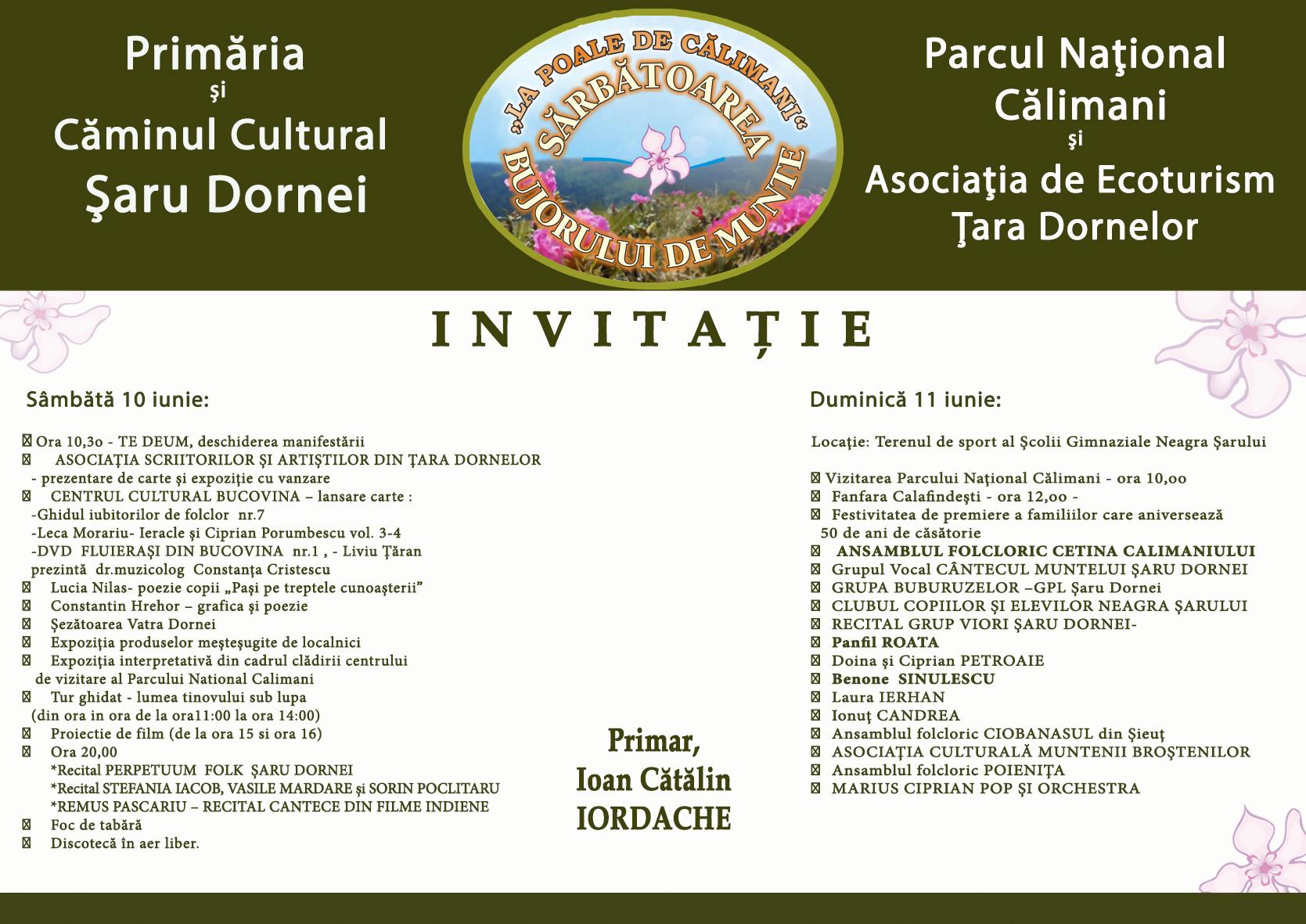 Invitatie bujorul de munte 2017